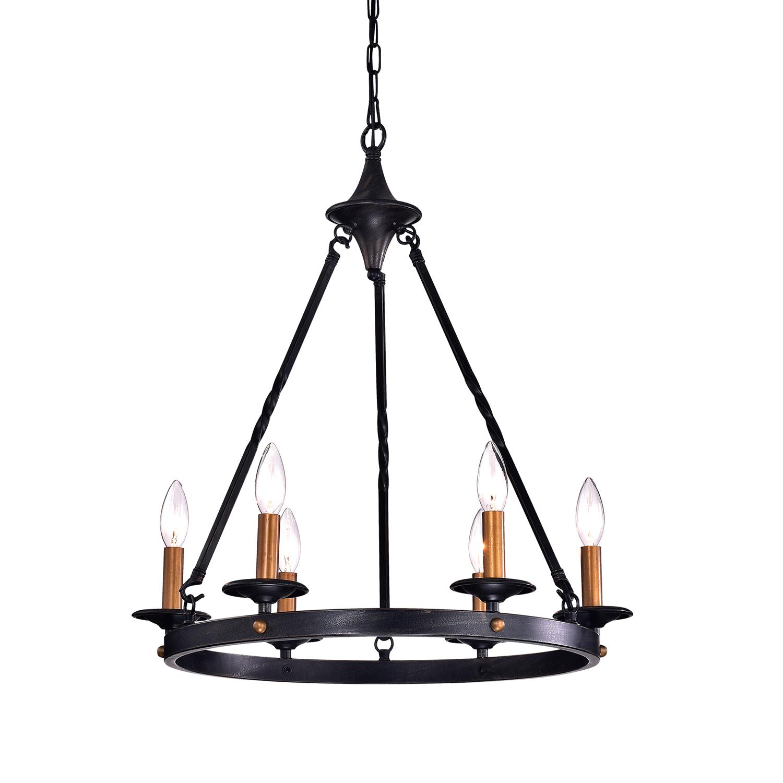 6 Light Antique Black Modern Farmhouse Round Chandelier Ceiling Fixture Edvivi Lighting