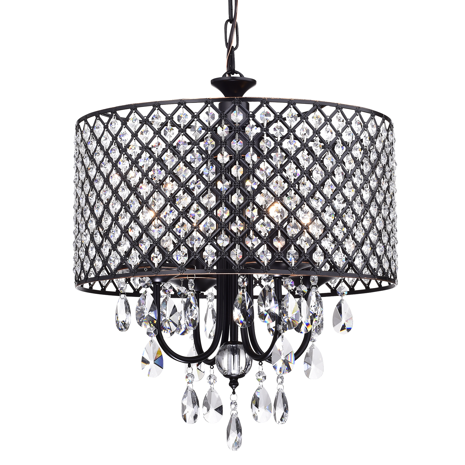Image of: Marya 4 Light Oil Rubbed Bronze Round Beaded Drum Chandelier Hanging Crystals Edvivi Lighting