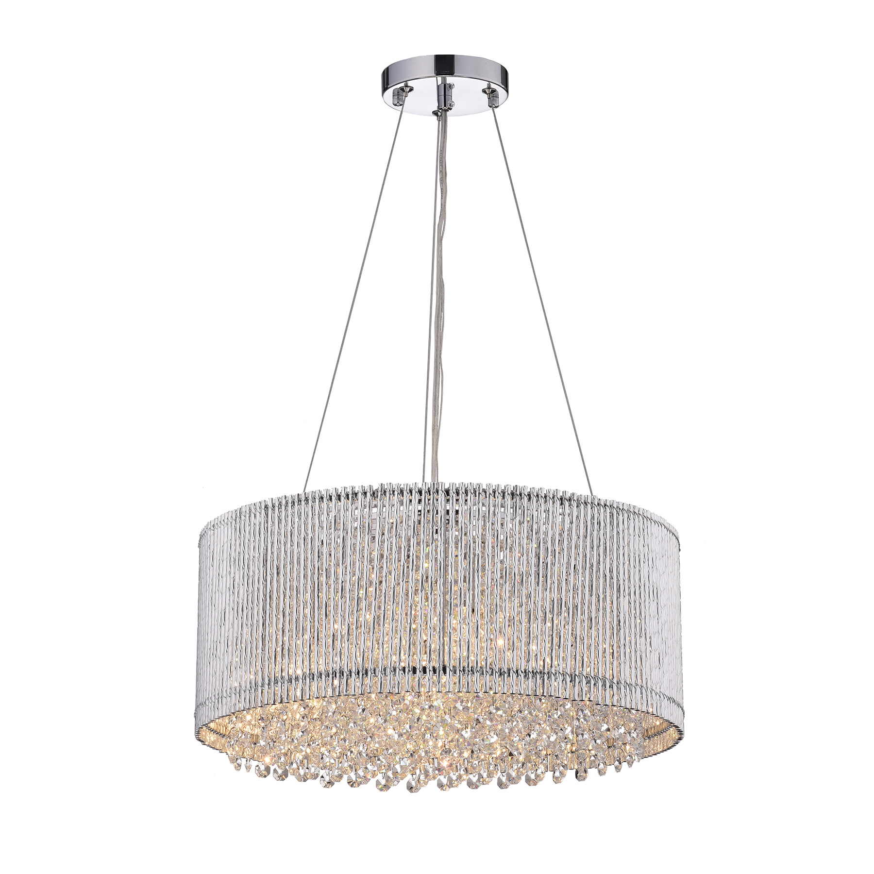 Pamina 4 Light Chrome Tubes Drum Shade Chandelier With Hanging Crystals Edvivi Lighting