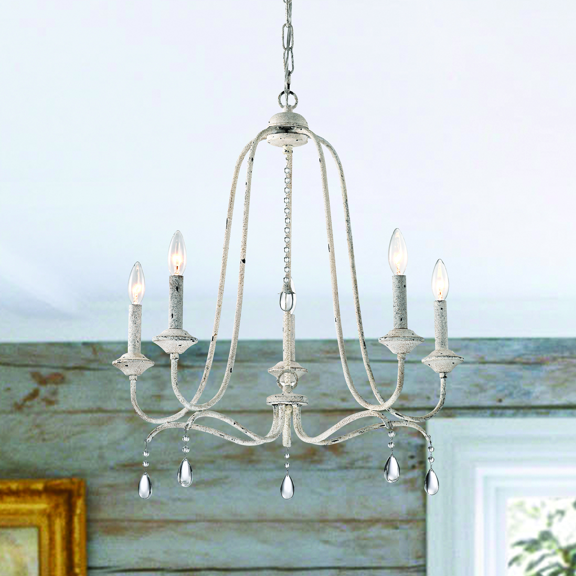 5 Light Distressed Antique White Farmhouse Chandelier With Crystals Edvivi Lighting