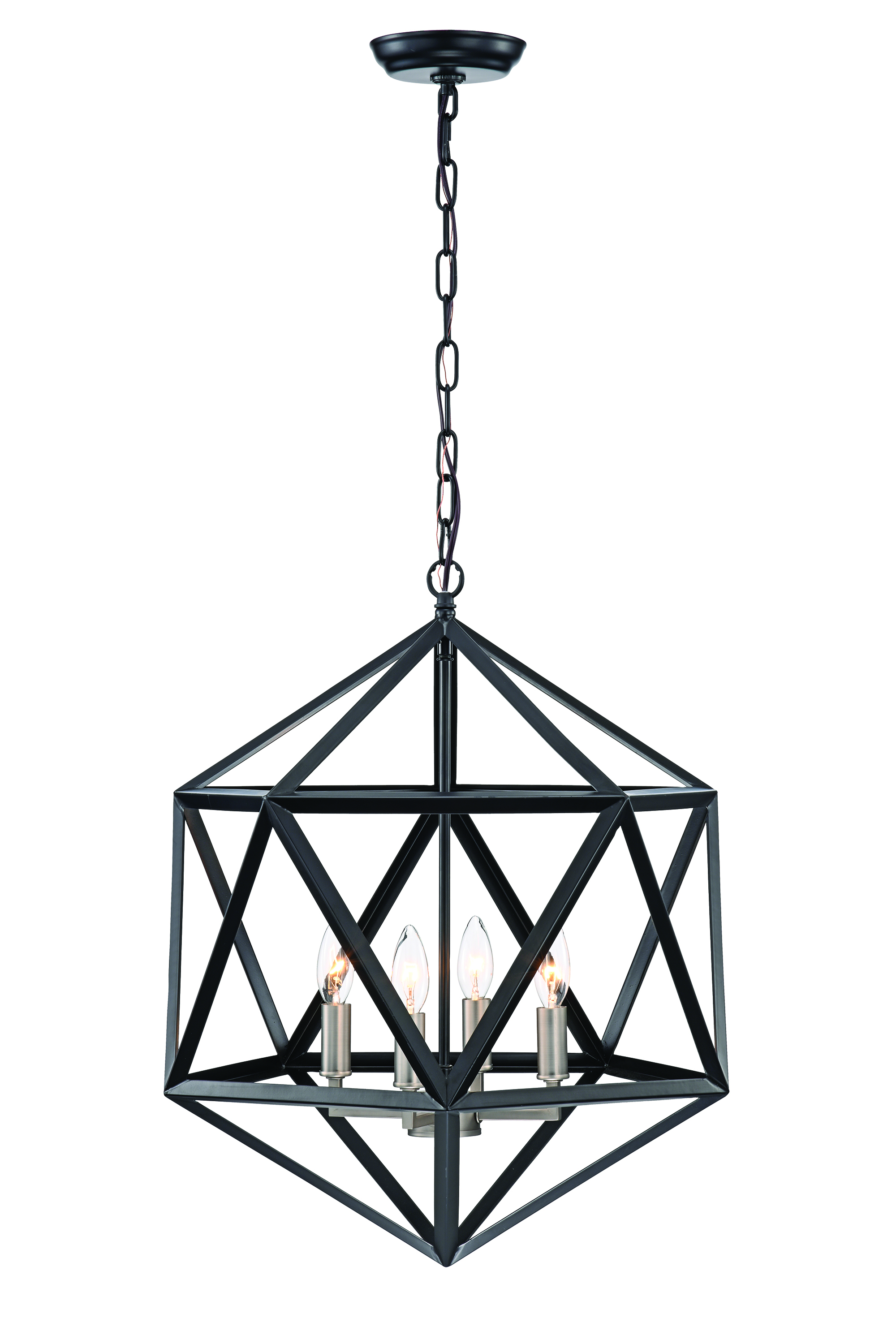 4 Light Matte Black Geometric Iron Cage Chandelier With Brushed Nickel Sleeves Edvivi Lighting