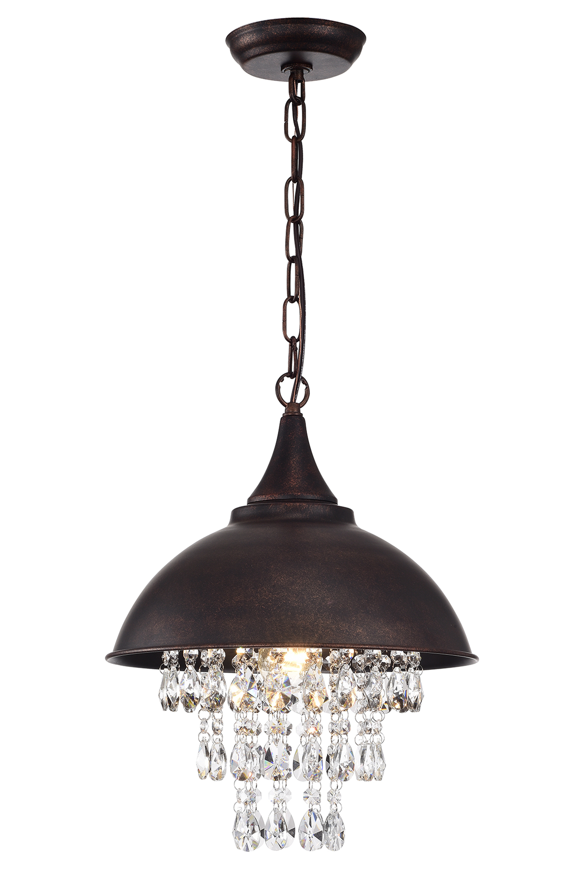 1 Light Antique Copper Dome Modern Farmhouse Pendant With Hanging Crystals Edvivi Lighting