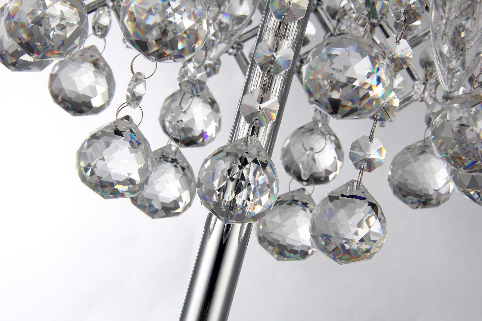 Marya 3 Light Chrome Round Crystal Chandelier Bedroom Nightstand Table Lamp Edvivi Lighting