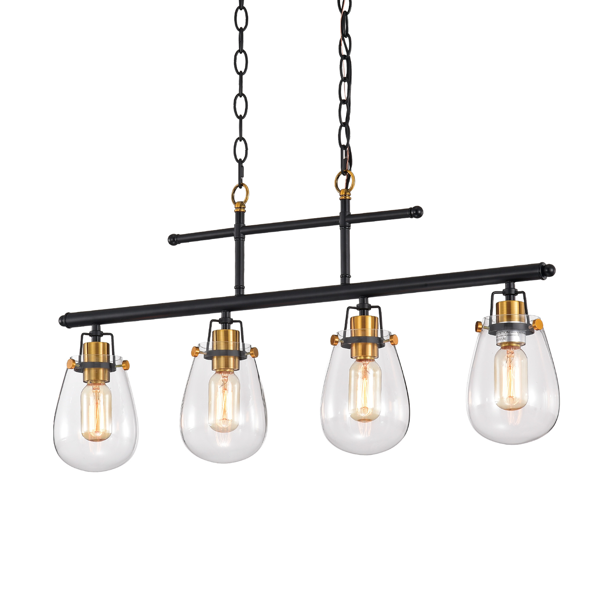 Ontario 4 Light Black And Antique Gold Kitchen Island Chandelier Edvivi Lighting